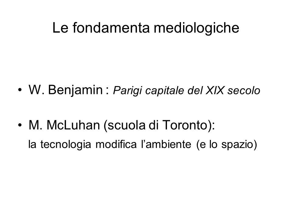 Le fondamenta mediologiche W. Benjamin : Parigi capitale del XIX secolo M. McLuhan (scuola di Toronto): la tecnologia modifica lambiente (e lo spazio)