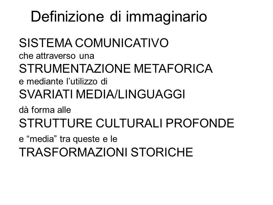 Definizione di immaginario SISTEMA COMUNICATIVO che attraverso una STRUMENTAZIONE METAFORICA e mediante lutilizzo di SVARIATI MEDIA/LINGUAGGI dà forma