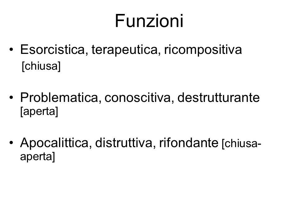 Funzioni Esorcistica, terapeutica, ricompositiva [chiusa] Problematica, conoscitiva, destrutturante [aperta] Apocalittica, distruttiva, rifondante [ch