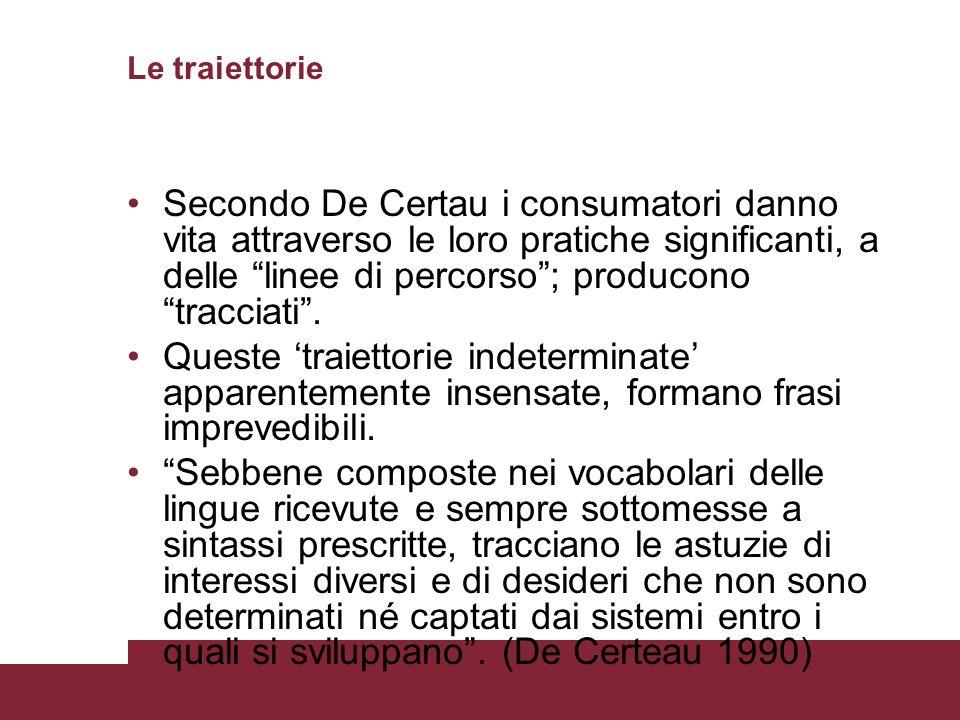 Le traiettorie Secondo De Certau i consumatori danno vita attraverso le loro pratiche significanti, a delle linee di percorso; producono tracciati.
