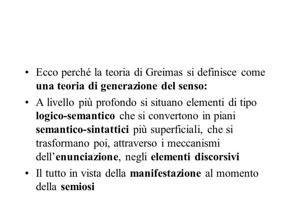 Ecco perché la teoria di Greimas si definisce come una teoria di generazione del senso: A livello più profondo si situano elementi di tipo logico-sema