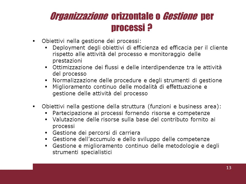Organizzazione orizzontale o Gestione per processi ? Obiettivi nella gestione dei processi: Deployment degli obiettivi di efficienza ed efficacia per