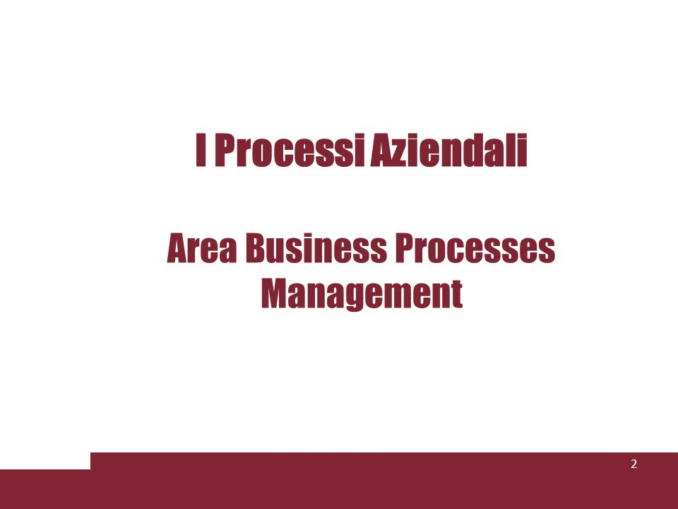 I Processi Aziendali Area Business Processes Management 2