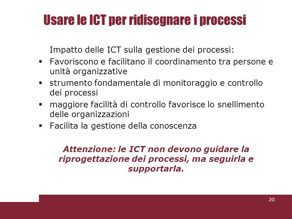 Usare le ICT per ridisegnare i processi Impatto delle ICT sulla gestione dei processi: Favoriscono e facilitano il coordinamento tra persone e unità o