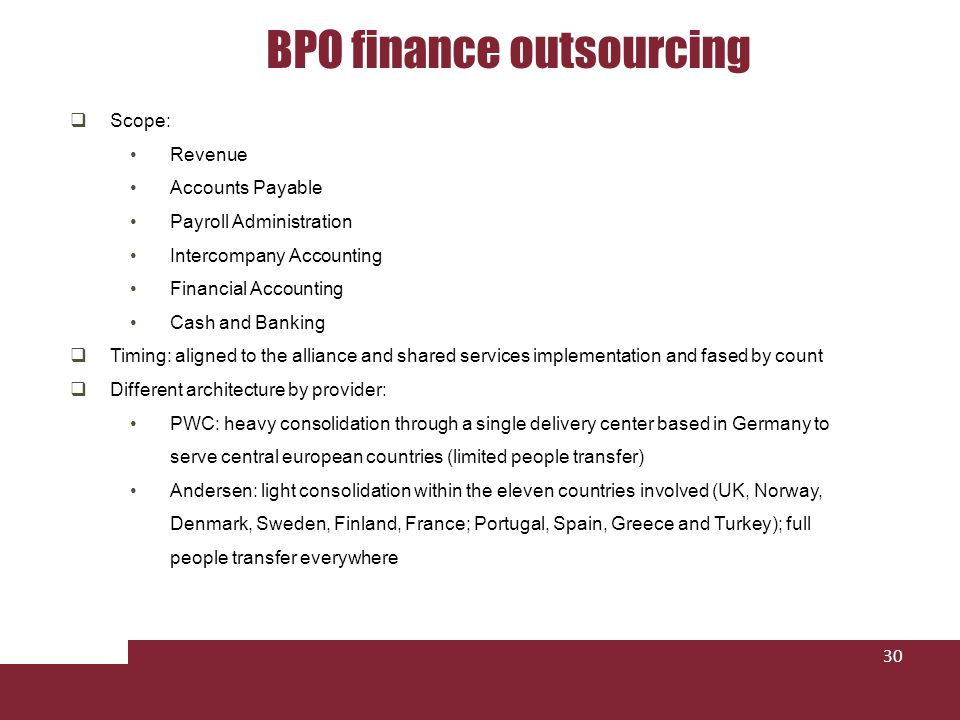 BPO finance outsourcing 30 Scope: Revenue Accounts Payable Payroll Administration Intercompany Accounting Financial Accounting Cash and Banking Timing