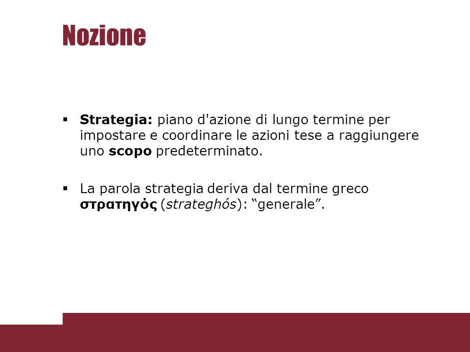 Nozione Strategia: piano d'azione di lungo termine per impostare e coordinare le azioni tese a raggiungere uno scopo predeterminato. La parola strateg