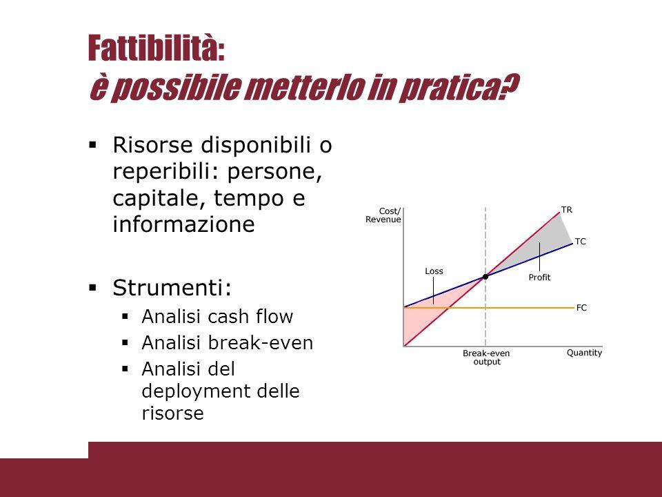 Fattibilità: è possibile metterlo in pratica? Risorse disponibili o reperibili: persone, capitale, tempo e informazione Strumenti: Analisi cash flow A