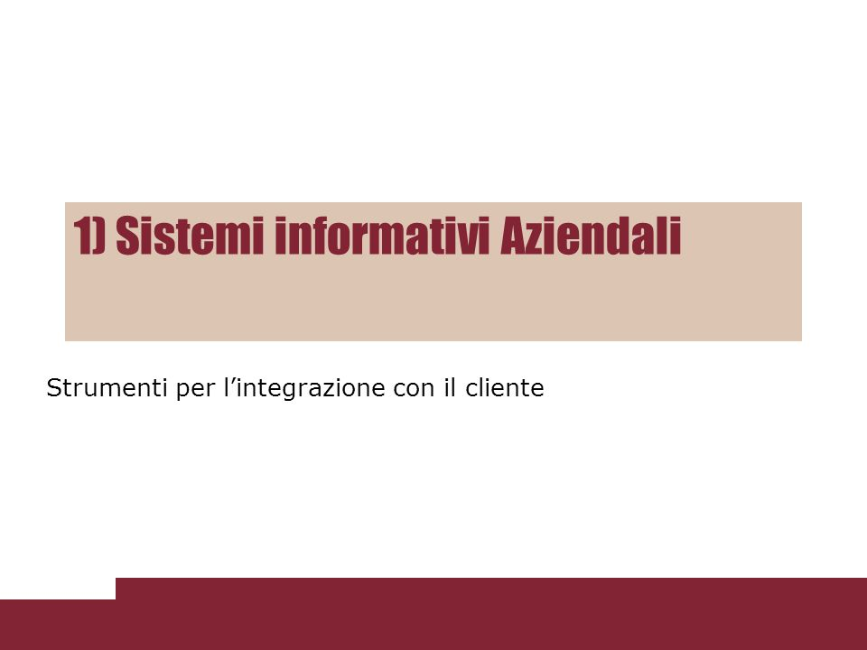 1) Sistemi informativi Aziendali Strumenti per lintegrazione con il cliente
