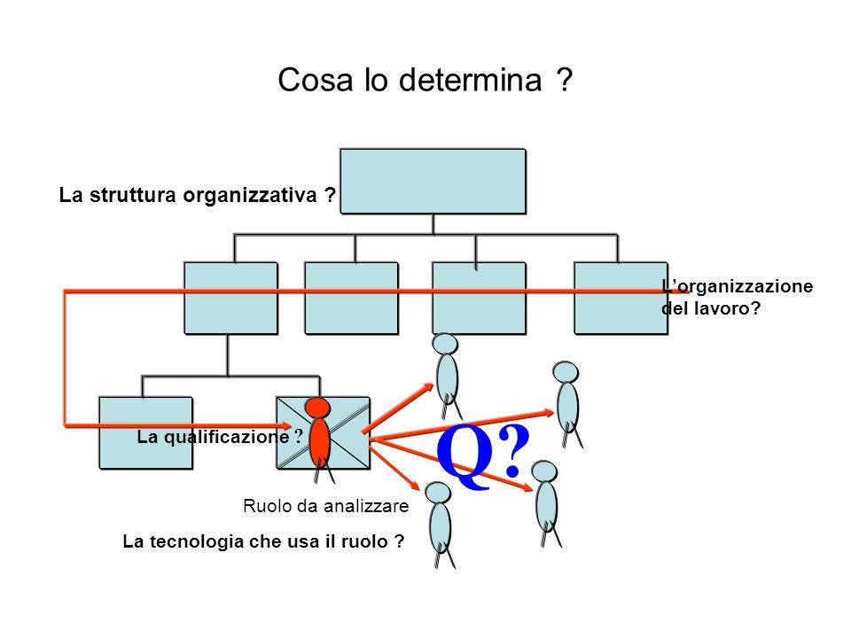 Cosa lo determina ? Ruolo da analizzare Q? La struttura organizzativa ? La qualificazione ? Lorganizzazione del lavoro? La tecnologia che usa il ruolo