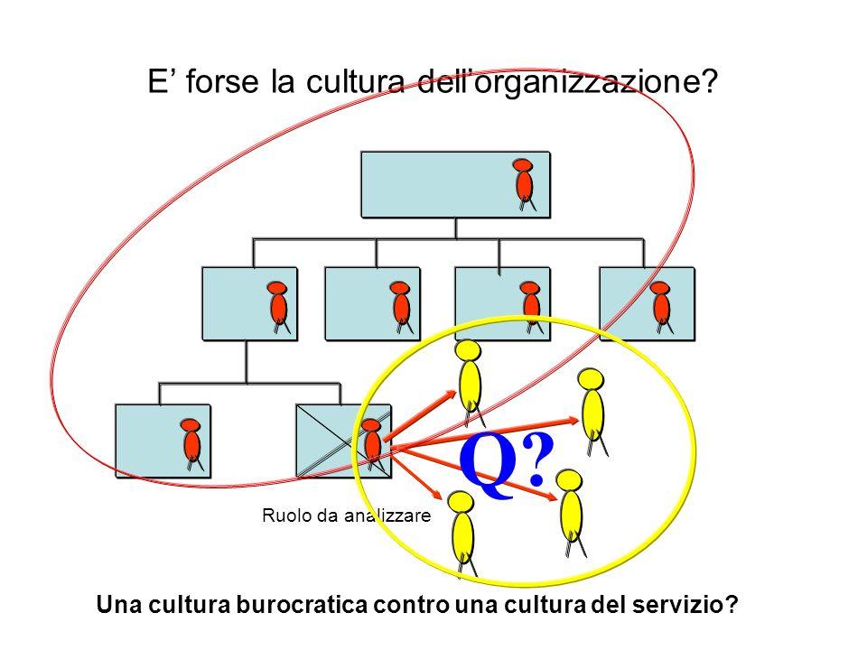 E forse la cultura dellorganizzazione? Ruolo da analizzare Q? Una cultura burocratica contro una cultura del servizio?