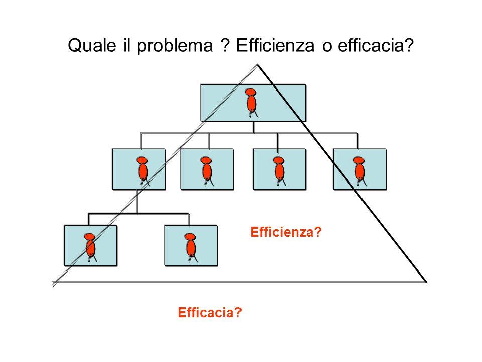 Quale il problema ? Efficienza o efficacia? Efficienza? Efficacia?