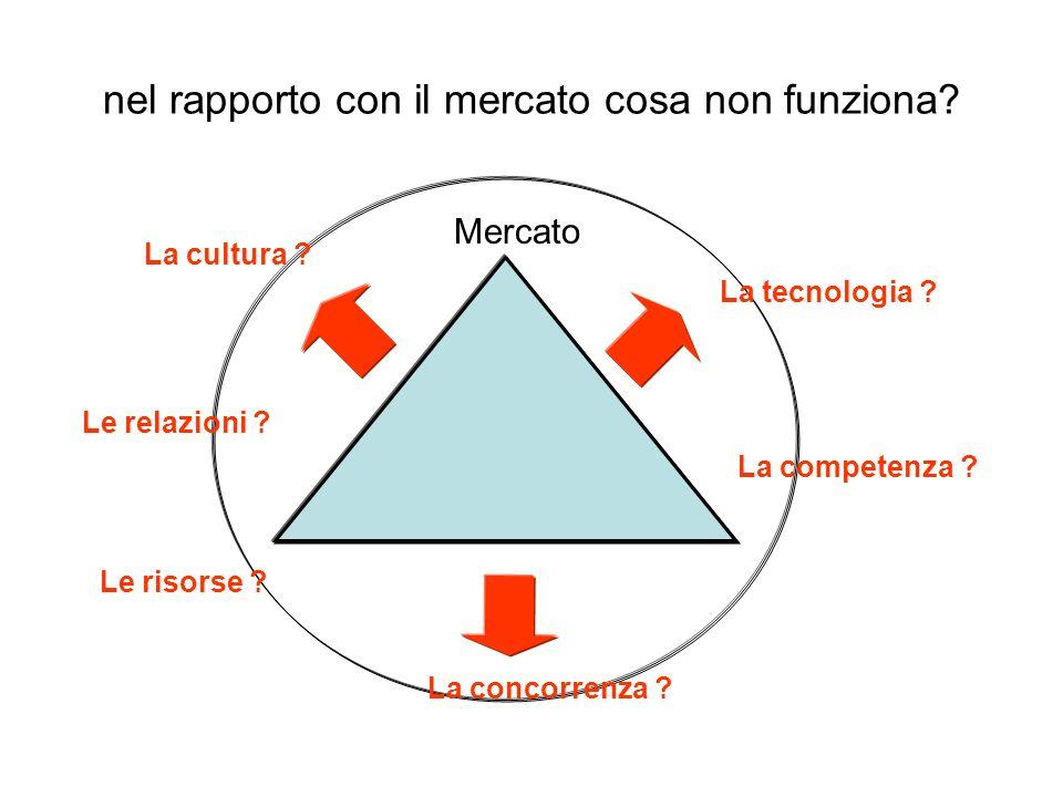 nel rapporto con il mercato cosa non funziona? Mercato La tecnologia ? La concorrenza ? La cultura ? La competenza ? Le risorse ? Le relazioni ?