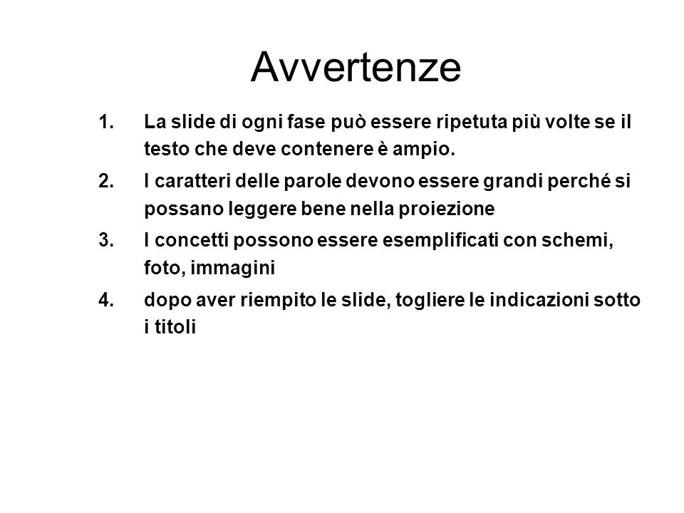 Avvertenze 1.La slide di ogni fase può essere ripetuta più volte se il testo che deve contenere è ampio. 2.I caratteri delle parole devono essere gran