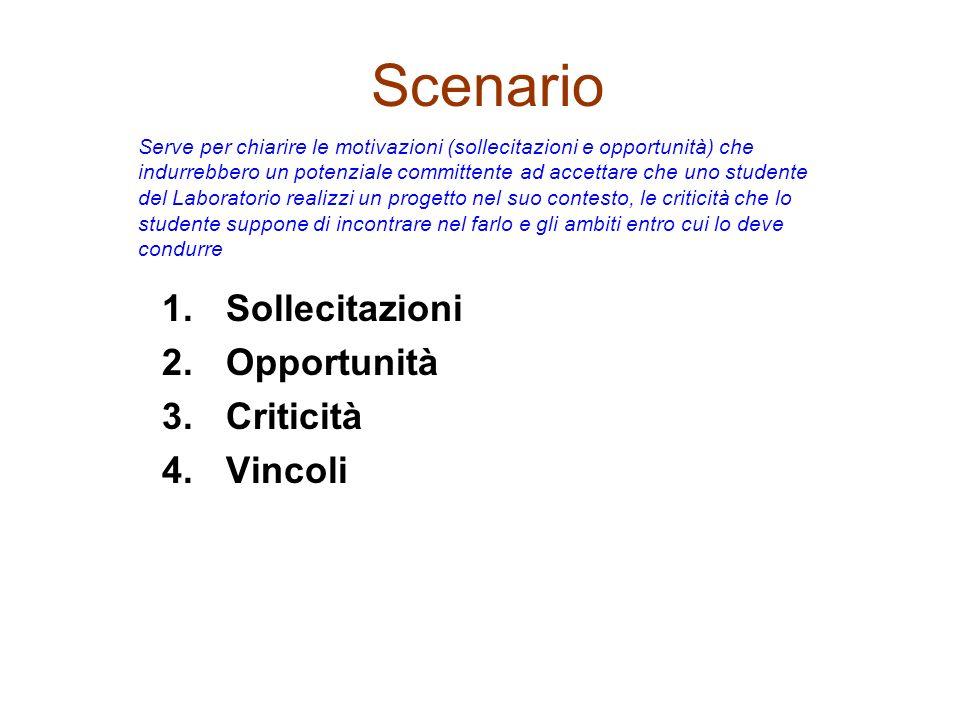 Scenario 1.Sollecitazioni 2.Opportunità 3.Criticità 4.Vincoli Serve per chiarire le motivazioni (sollecitazioni e opportunità) che indurrebbero un pot