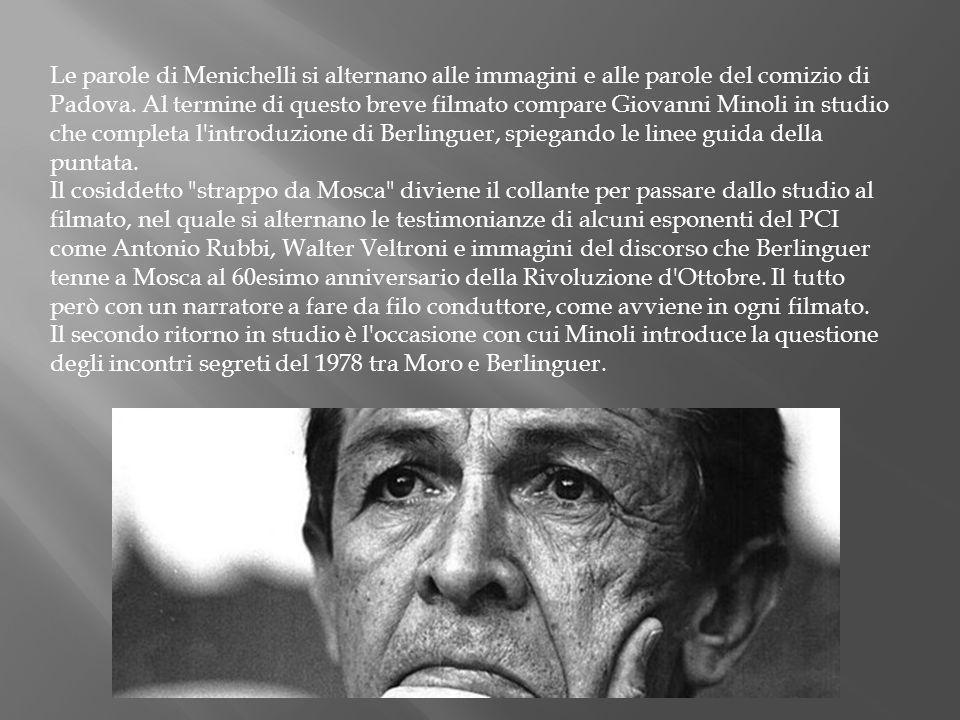Le parole di Menichelli si alternano alle immagini e alle parole del comizio di Padova.