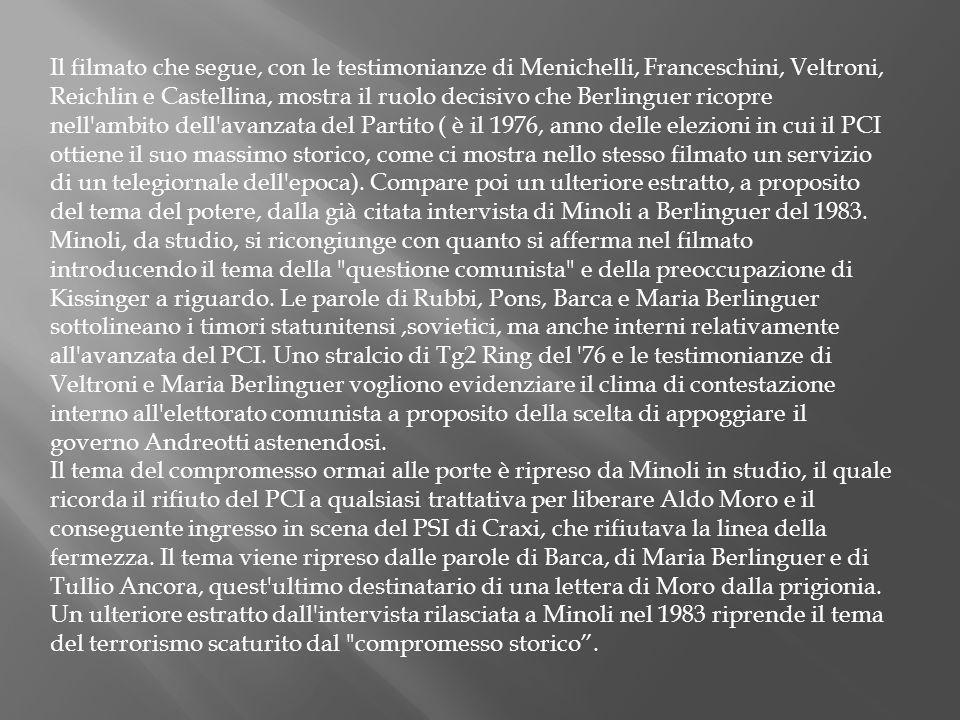 Il filmato che segue, con le testimonianze di Menichelli, Franceschini, Veltroni, Reichlin e Castellina, mostra il ruolo decisivo che Berlinguer ricop