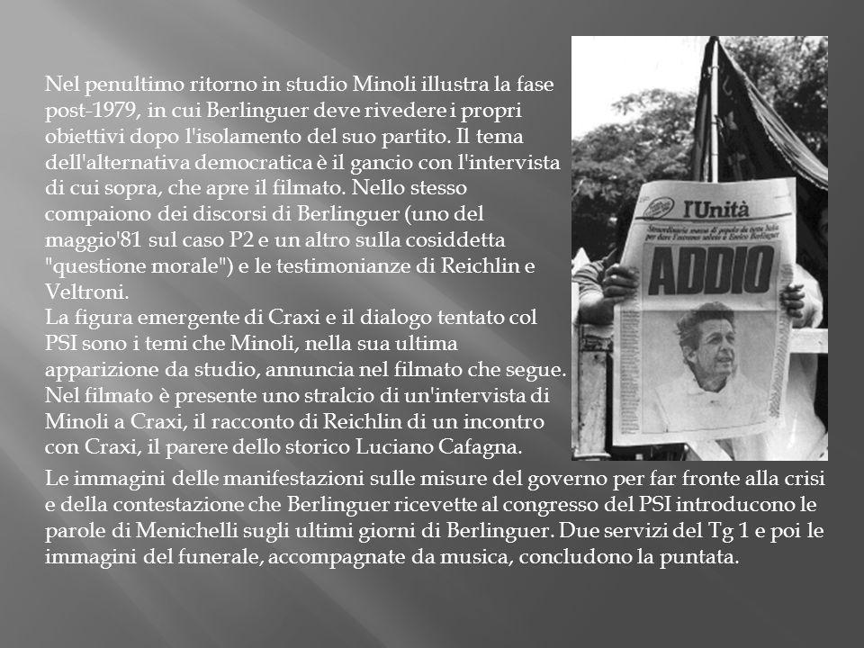 Nel penultimo ritorno in studio Minoli illustra la fase post-1979, in cui Berlinguer deve rivedere i propri obiettivi dopo l'isolamento del suo partit