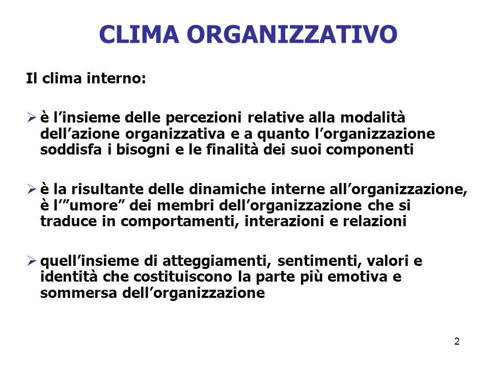 2 CLIMA ORGANIZZATIVO Il clima interno: è linsieme delle percezioni relative alla modalità dellazione organizzativa e a quanto lorganizzazione soddisf