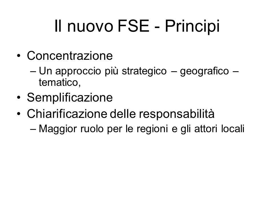 Il nuovo FSE - Principi Concentrazione –Un approccio più strategico – geografico – tematico, Semplificazione Chiarificazione delle responsabilità –Maggior ruolo per le regioni e gli attori locali