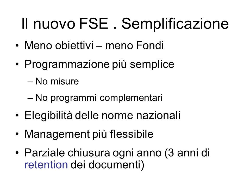 Il nuovo FSE. Semplificazione Meno obiettivi – meno Fondi Programmazione più semplice –No misure –No programmi complementari Elegibilità delle norme n