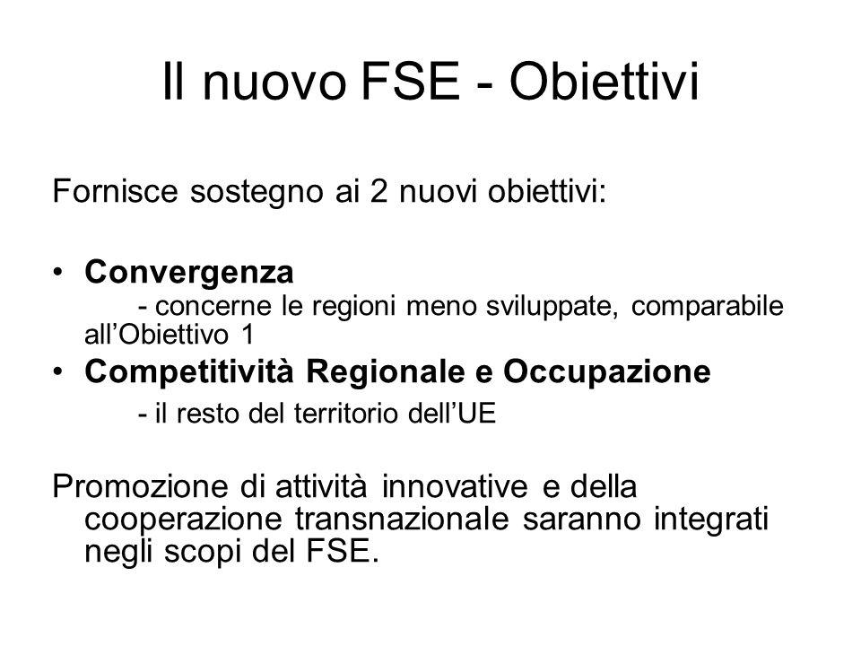 Il nuovo FSE - Obiettivi Fornisce sostegno ai 2 nuovi obiettivi: Convergenza - concerne le regioni meno sviluppate, comparabile allObiettivo 1 Competitività Regionale e Occupazione - il resto del territorio dellUE Promozione di attività innovative e della cooperazione transnazionale saranno integrati negli scopi del FSE.