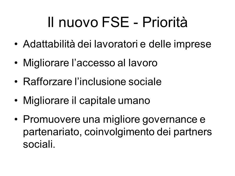 Il nuovo FSE - Priorità Adattabilità dei lavoratori e delle imprese Migliorare laccesso al lavoro Rafforzare linclusione sociale Migliorare il capitale umano Promuovere una migliore governance e partenariato, coinvolgimento dei partners sociali.