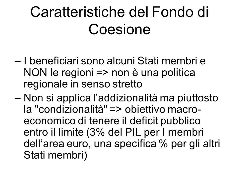 Caratteristiche del Fondo di Coesione –I beneficiari sono alcuni Stati membri e NON le regioni => non è una politica regionale in senso stretto –Non s