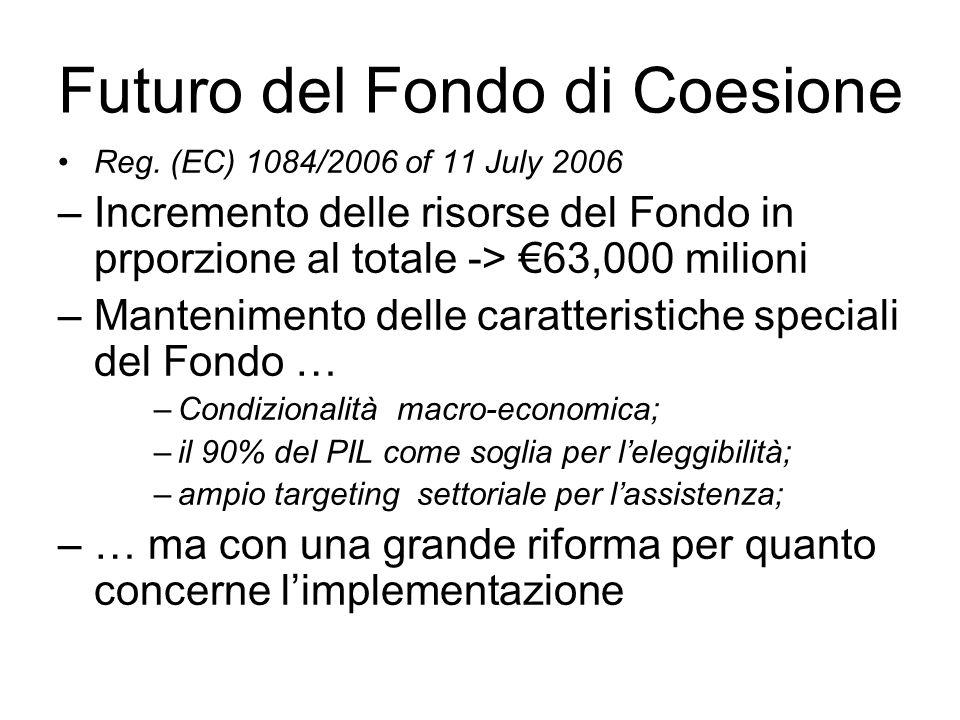 Futuro del Fondo di Coesione Reg. (EC) 1084/2006 of 11 July 2006 –Incremento delle risorse del Fondo in prporzione al totale -> 63,000 milioni –Manten