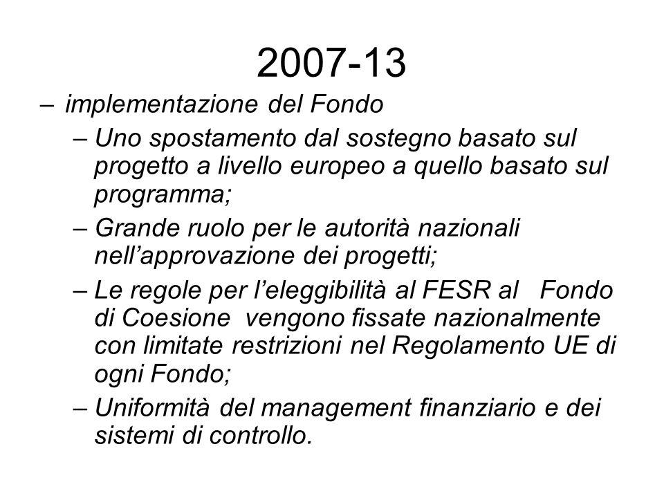 2007-13 –implementazione del Fondo –Uno spostamento dal sostegno basato sul progetto a livello europeo a quello basato sul programma; –Grande ruolo pe
