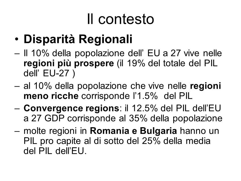 Il contesto Disparità Regionali –Il 10% della popolazione dell EU a 27 vive nelle regioni più prospere (il 19% del totale del PIL dell EU-27 ) –al 10% della popolazione che vive nelle regioni meno ricche corrisponde l1.5% del PIL –Convergence regions: il 12.5% del PIL dellEU a 27 GDP corrisponde al 35% della popolazione –molte regioni in Romania e Bulgaria hanno un PIL pro capite al di sotto del 25% della media del PIL dellEU.
