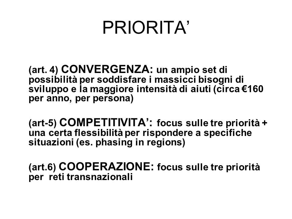 PRIORITA (art. 4) CONVERGENZA: un ampio set di possibilità per soddisfare i massicci bisogni di sviluppo e la maggiore intensità di aiuti (circa 160 p