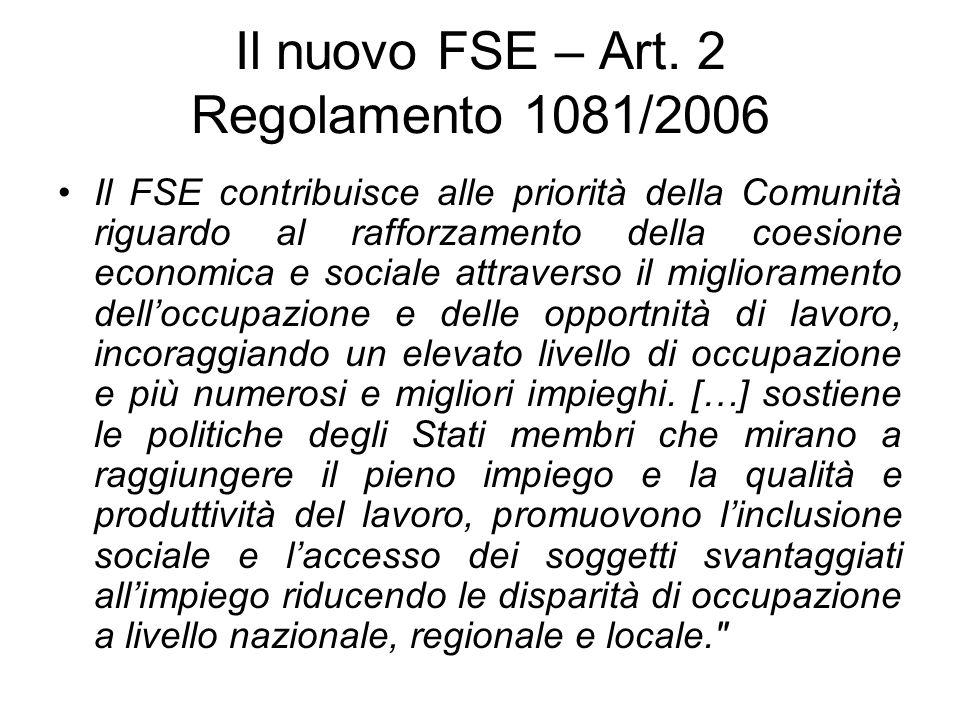 Il nuovo FSE – Art. 2 Regolamento 1081/2006 Il FSE contribuisce alle priorità della Comunità riguardo al rafforzamento della coesione economica e soci