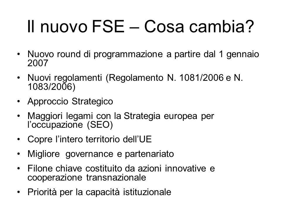Il nuovo FSE – Cosa cambia? Nuovo round di programmazione a partire dal 1 gennaio 2007 Nuovi regolamenti (Regolamento N. 1081/2006 e N. 1083/2006) App