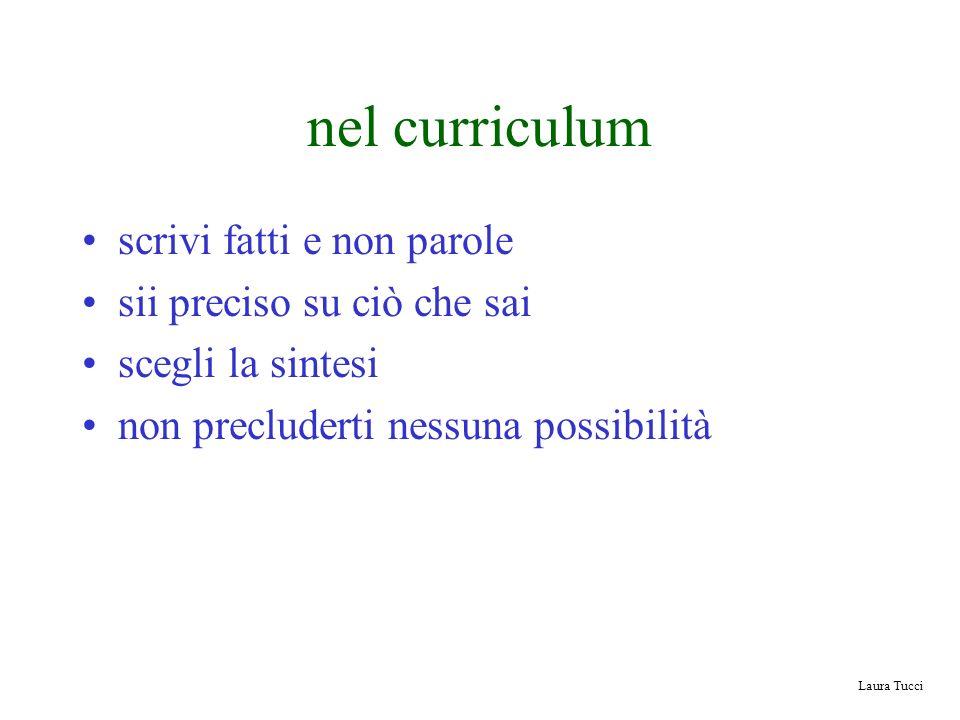 Laura Tucci nel curriculum scrivi fatti e non parole sii preciso su ciò che sai scegli la sintesi non precluderti nessuna possibilità