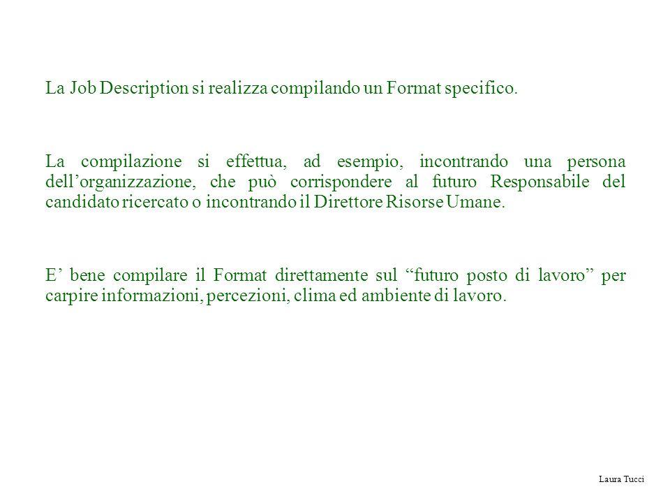 Laura Tucci La Job Description si realizza compilando un Format specifico. La compilazione si effettua, ad esempio, incontrando una persona dellorgani