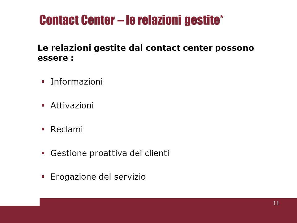 Contact Center – le relazioni gestite* Le relazioni gestite dal contact center possono essere : Informazioni Attivazioni Reclami Gestione proattiva dei clienti Erogazione del servizio 11