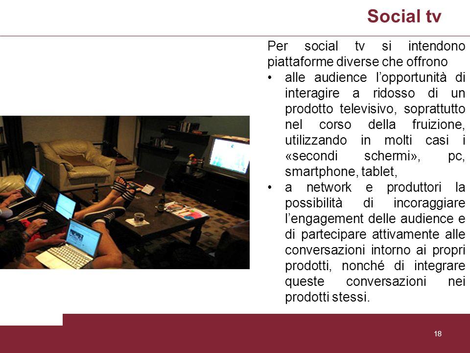 Social tv 18 Per social tv si intendono piattaforme diverse che offrono alle audience lopportunità di interagire a ridosso di un prodotto televisivo,