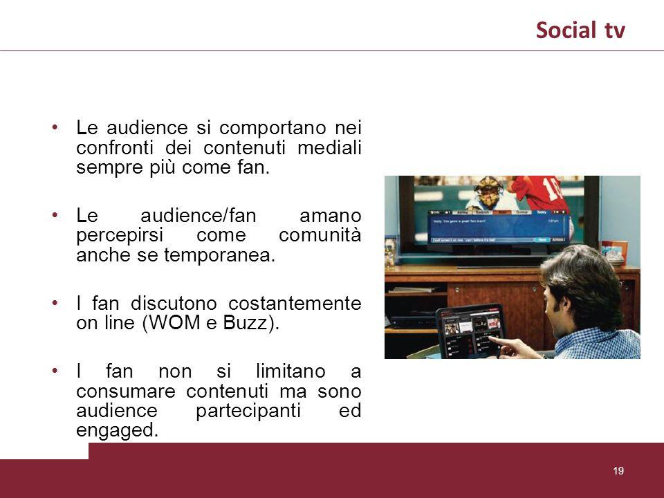 Le audience si comportano nei confronti dei contenuti mediali sempre più come fan. Le audience/fan amano percepirsi come comunità anche se temporanea.