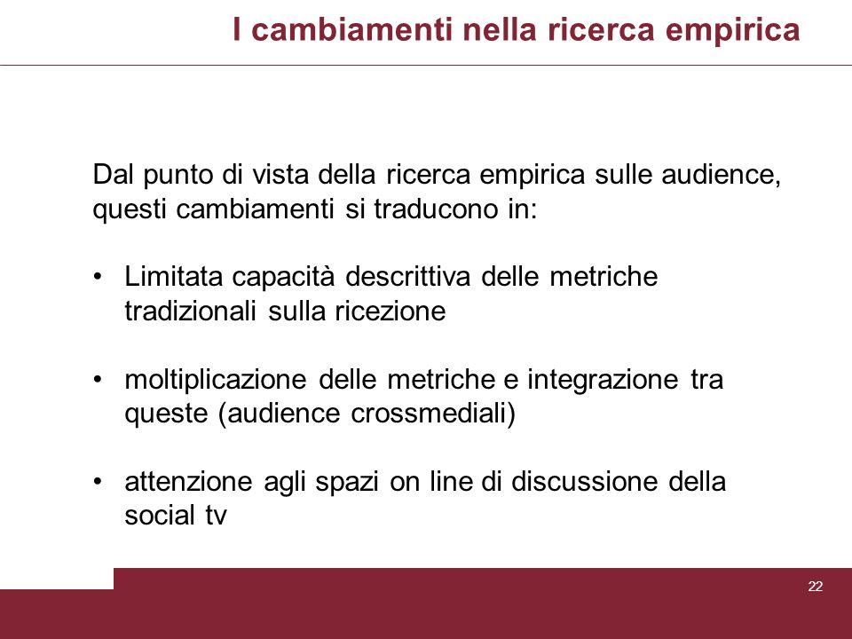 I cambiamenti nella ricerca empirica 22 Dal punto di vista della ricerca empirica sulle audience, questi cambiamenti si traducono in: Limitata capacit
