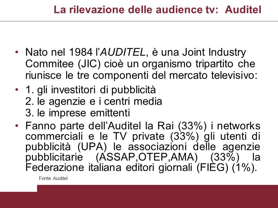 La rilevazione delle audience tv: Auditel Nato nel 1984 lAUDITEL, è una Joint Industry Commitee (JIC) cioè un organismo tripartito che riunisce le tre