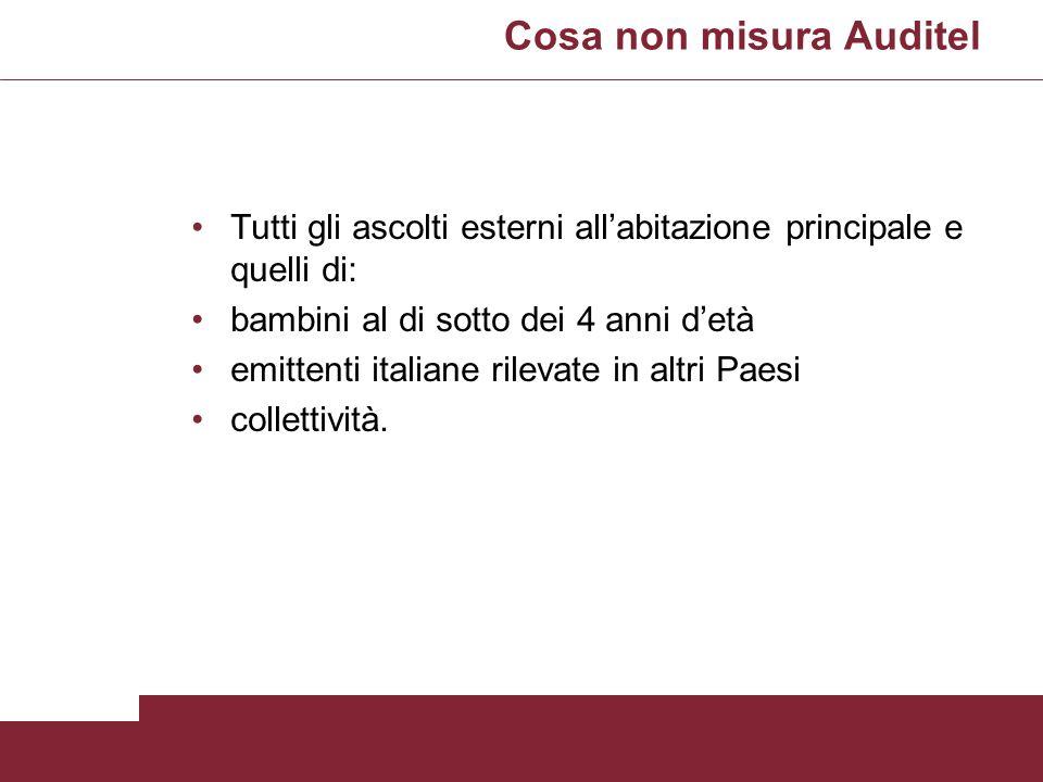 Cosa non misura Auditel Tutti gli ascolti esterni allabitazione principale e quelli di: bambini al di sotto dei 4 anni detà emittenti italiane rilevat