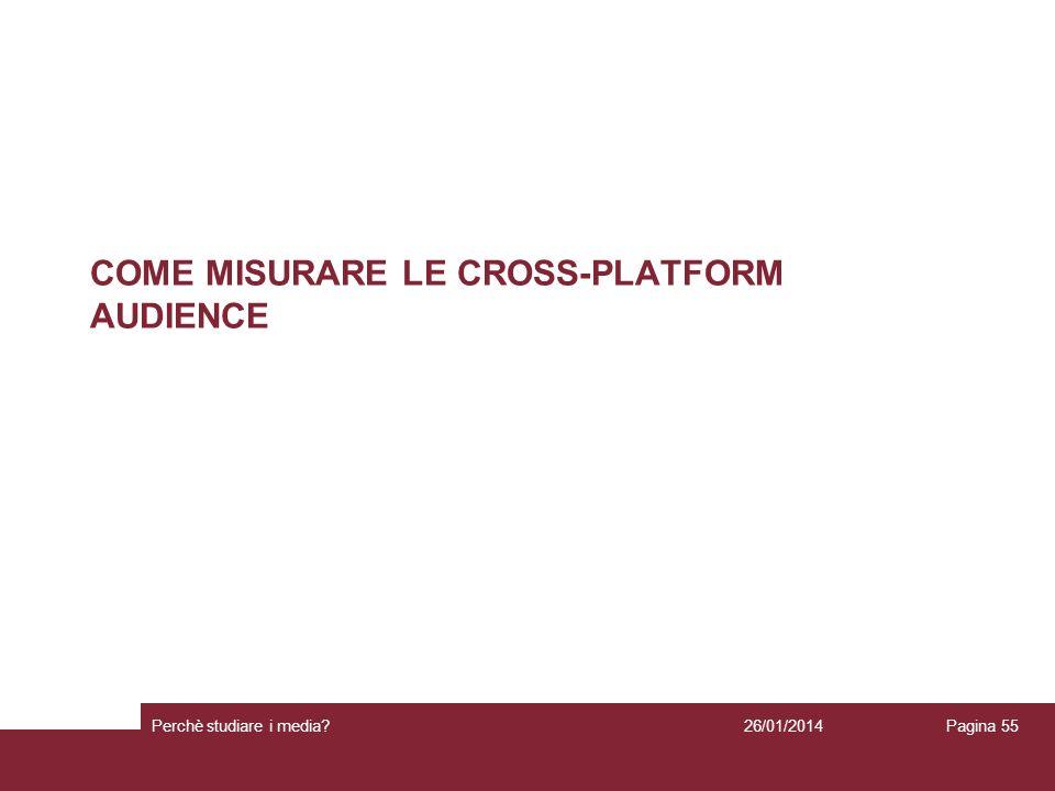 COME MISURARE LE CROSS-PLATFORM AUDIENCE 26/01/2014 Perchè studiare i media? Pagina 55