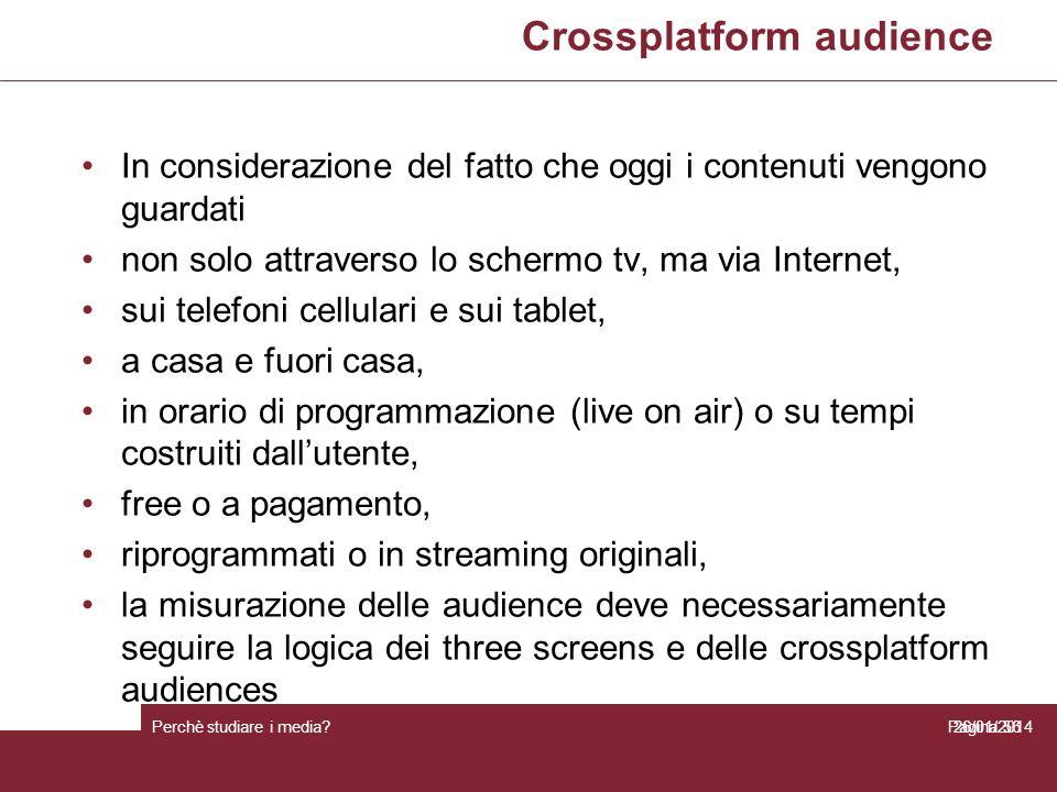 Crossplatform audience Perchè studiare i media? Pagina 56 In considerazione del fatto che oggi i contenuti vengono guardati non solo attraverso lo sch