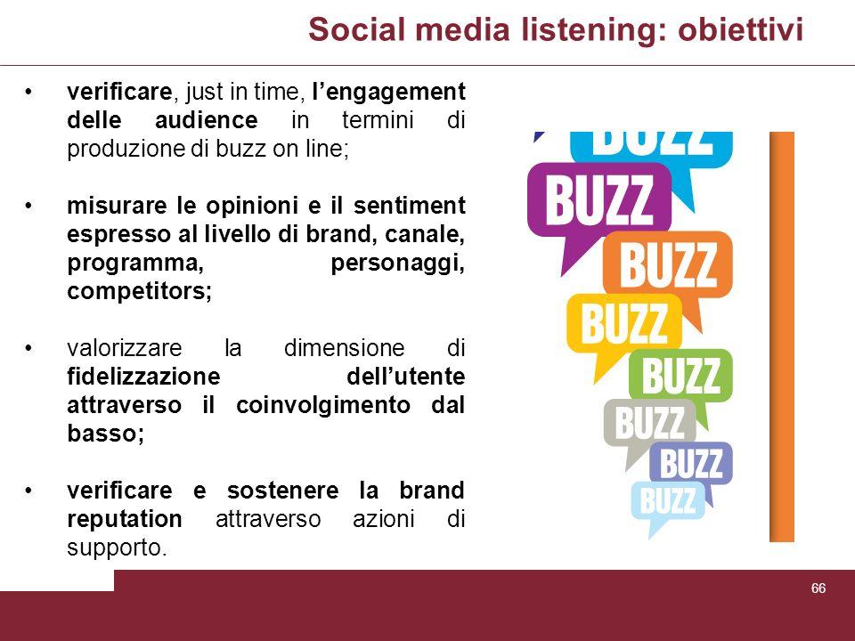 Social media listening: obiettivi 66 verificare, just in time, lengagement delle audience in termini di produzione di buzz on line; misurare le opinio