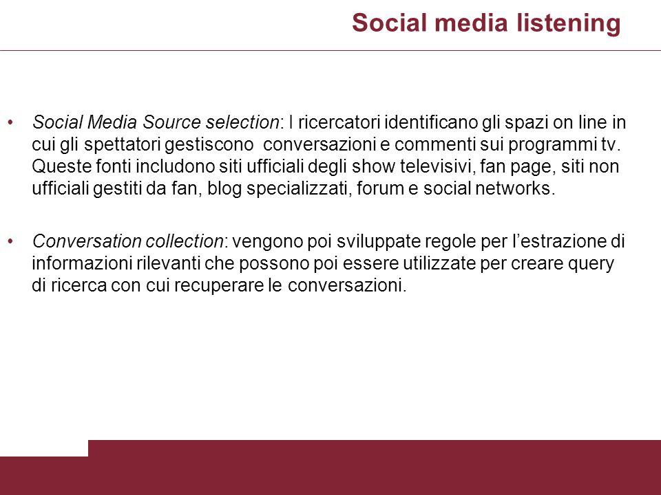 Social media listening Social Media Source selection: I ricercatori identificano gli spazi on line in cui gli spettatori gestiscono conversazioni e co