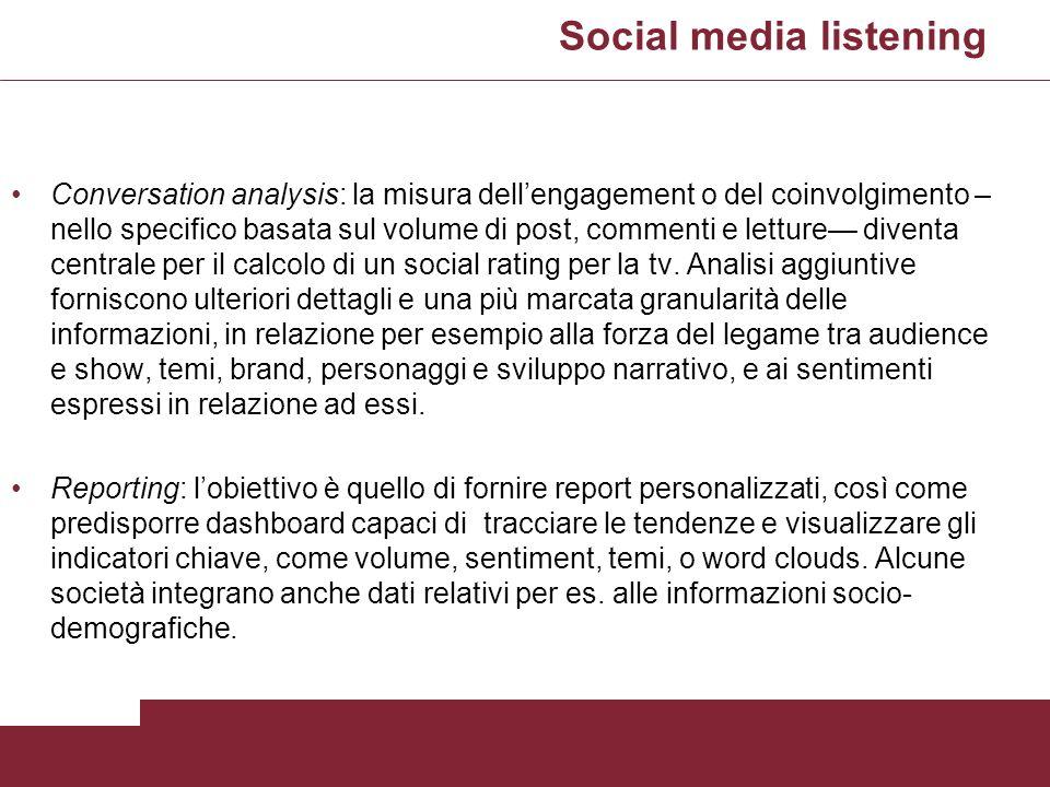 Social media listening Conversation analysis: la misura dellengagement o del coinvolgimento – nello specifico basata sul volume di post, commenti e le