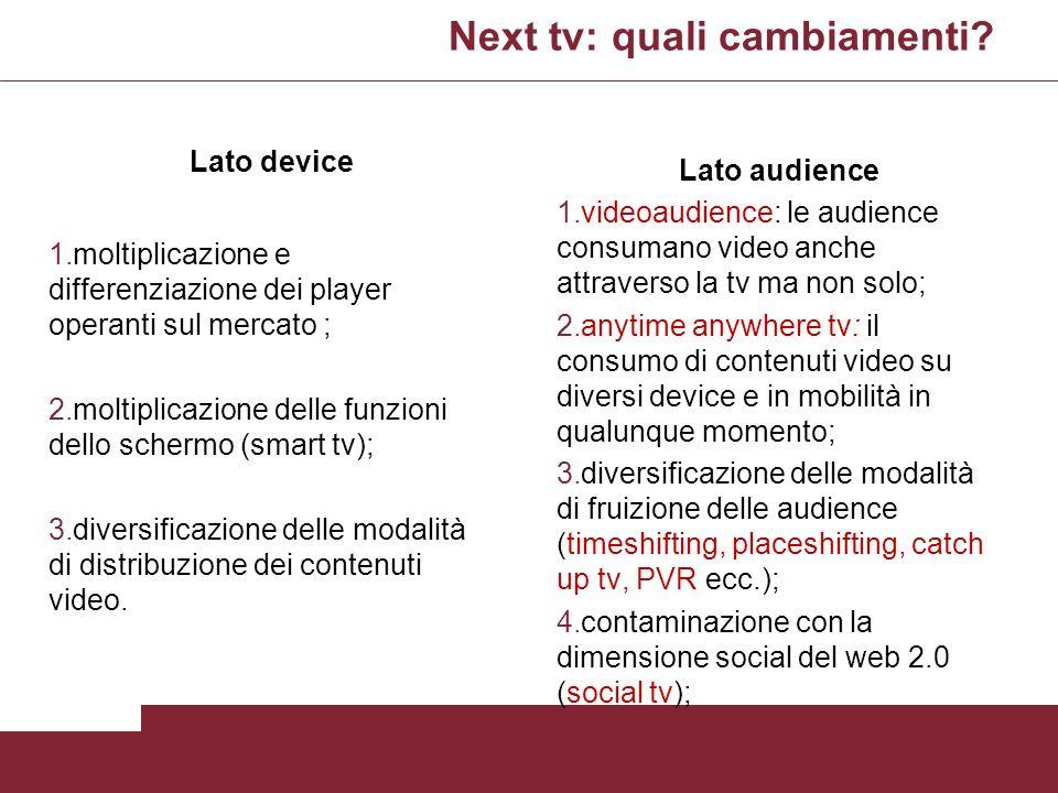 Next tv: quali cambiamenti? Lato device 1.moltiplicazione e differenziazione dei player operanti sul mercato ; 2.moltiplicazione delle funzioni dello