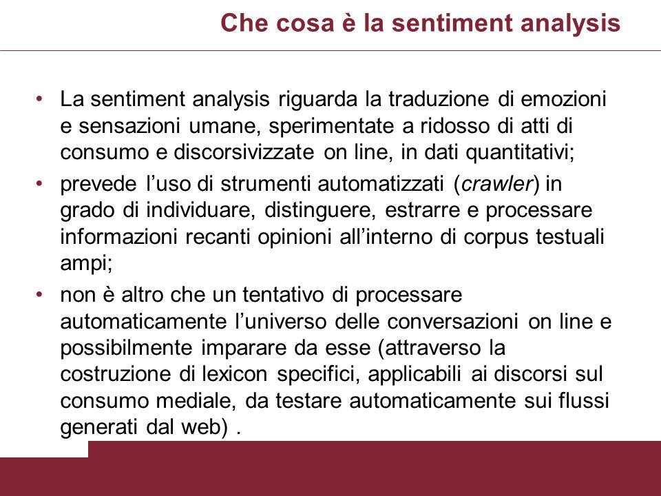Che cosa è la sentiment analysis La sentiment analysis riguarda la traduzione di emozioni e sensazioni umane, sperimentate a ridosso di atti di consum