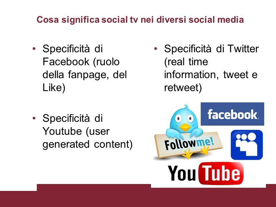 Cosa significa social tv nei diversi social media Specificità di Facebook (ruolo della fanpage, del Like) Specificità di Youtube (user generated conte