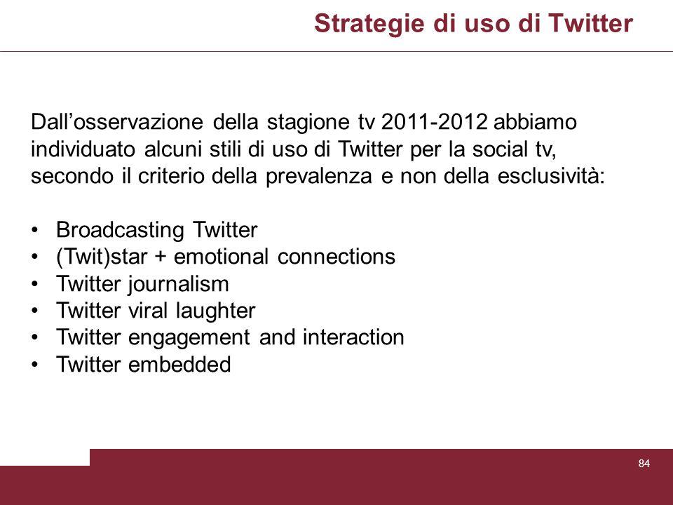 Strategie di uso di Twitter 84 Dallosservazione della stagione tv 2011-2012 abbiamo individuato alcuni stili di uso di Twitter per la social tv, secon